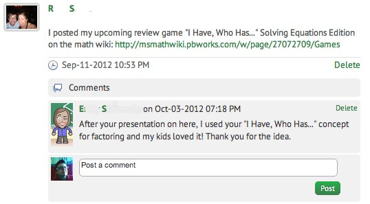 wonderful feedback from a math colleague