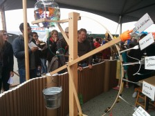 This water clock was a starter for the Rube Goldberg contraption built by kids all day long. (Exploratorium's booth)